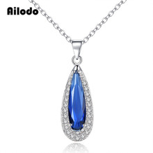 Ailodo New Fashion Waterdrop Crystal Pendant Necklace Blue Red Green Purple Color Simple Elegant For Women Gift LD073