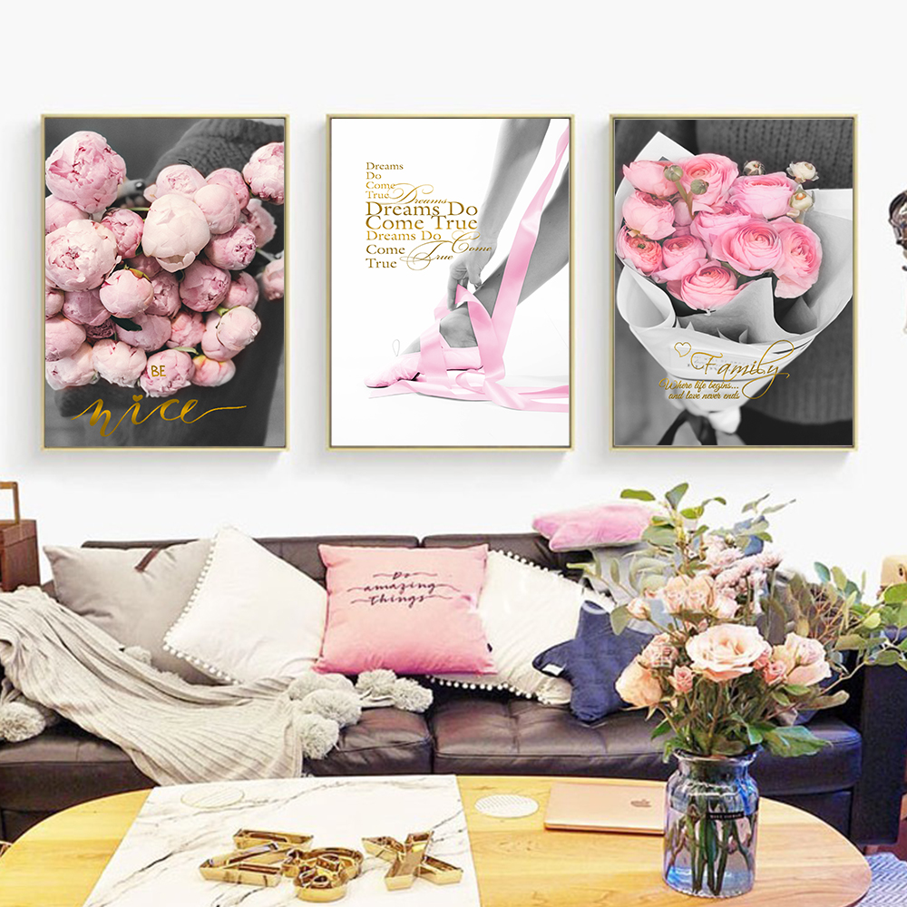 Flowers and Ballet Dancers Family Sweet Inspirational Wall Art Canvas Painting Poster Print Picture Nordic Living Room Decor in Painting Calligraphy from Home Garden