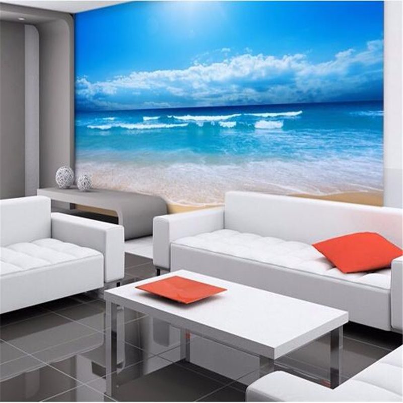 Popular beach wall mural buy cheap beach wall mural lots for Beach mural bedroom