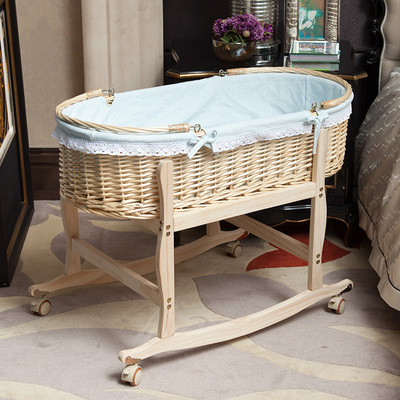 Newborn crib rattan car portable portable sleeping basket nest appease push cradle