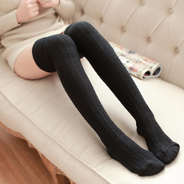 1pair Fashion Sexy Warm Long Cotton 8 Colors Stocking Over Knee Stocking And Women Winter Knee High Thigh Knitted Stockings