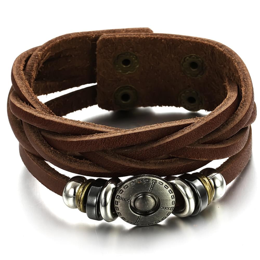 Vintage Men s Ladies Twist Leather Bracelet Gifts For Male Boys wrap leather  bracelet Pulseira de couro TY777 abcf44282387