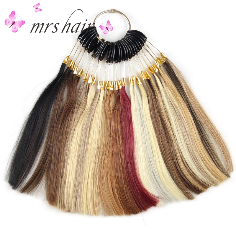 цена на 100% Human hair COLOR RING / COLOR CHART/ for hair extensions 28 different colors with ombre color Mix color