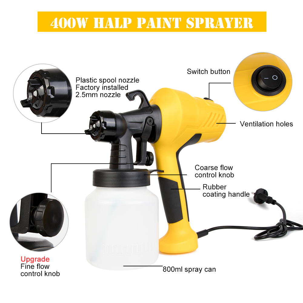 800ML Electric Paint Sprayers Gun In High Power With Plastic Spool Nozzle For Easy Spraying 2