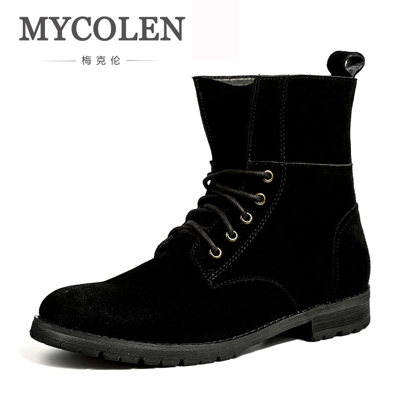 MYCOLEN Top New Woman Boots Fashion Casual Shoes Black Style High Quality Lace-Up Classic Leather Ankle Brand Design Winter black v neck lace up design cami top