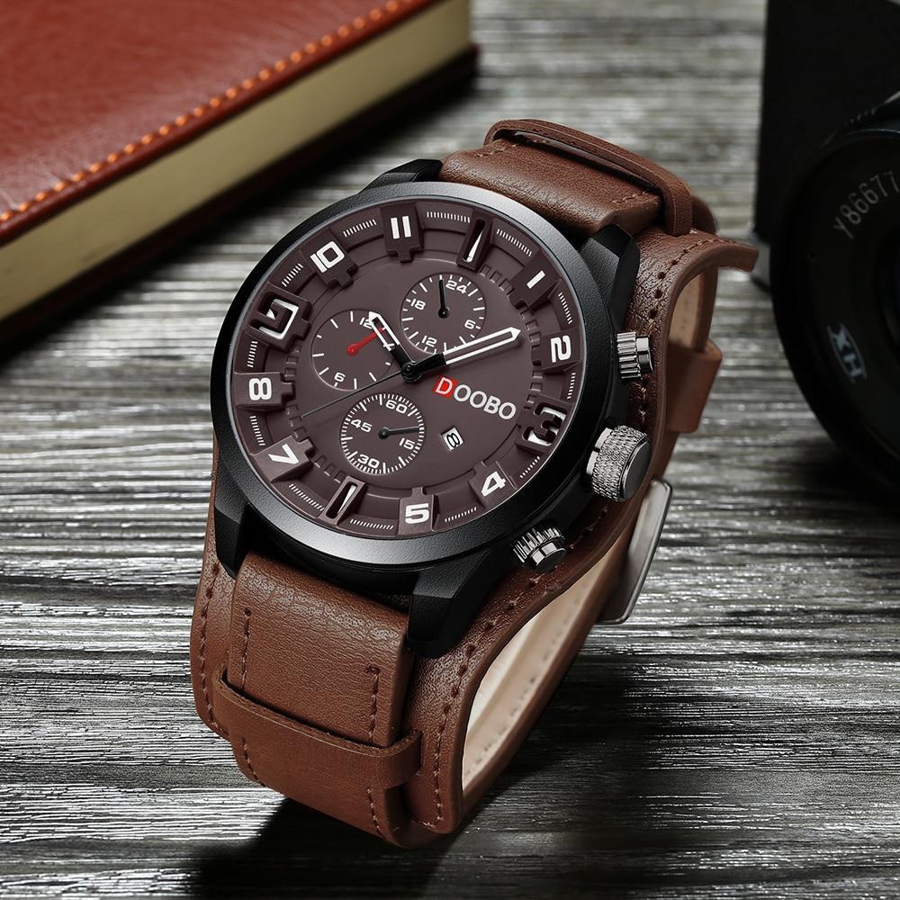 b7159dc8fcd DOOBO relogio masculino Homens Relógio Militar Esportes Relógio de Pulso de  Couro Relógio de Quartzo Dos