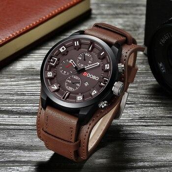DOOBO relogio masculino Homens Relógio Militar Esportes Relógio de Pulso de Couro Relógio de Quartzo Dos Homens Relógios Top Marca de Luxo Data Relógio 8225