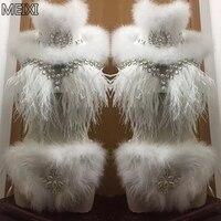 Unique super sexy princess Christmas tassel feather rhinestone pearl suit bar party concert singer dancer's costume