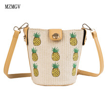 New womens straw bucket bag summer woven pineapple shoulder shopping wallet beach handbag travel