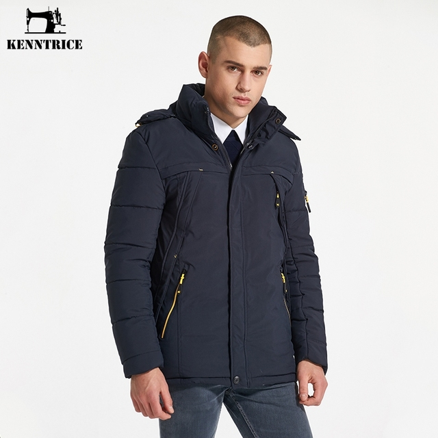KENNTRICE European Size 3XL Thicken Winter Men's Jacket Polyester Men Coat Snow Wear Hooded Jacket Male Winter Coats