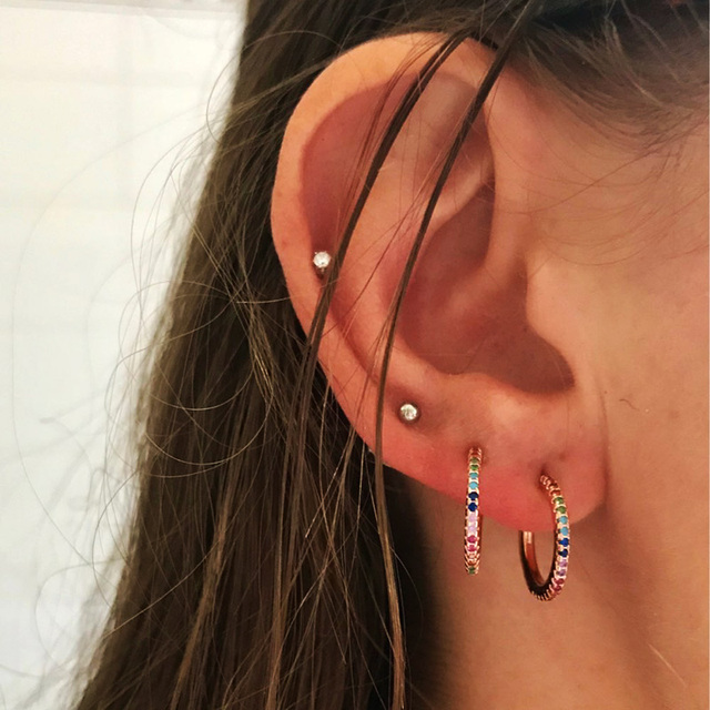 9297b365072db US $4.99 |2019 New Stud micro pave cz circle Earrings With Blue Red Stone  mix Rainbow CZ Rose gold Stud Earring girl earring women jewelry-in Stud ...