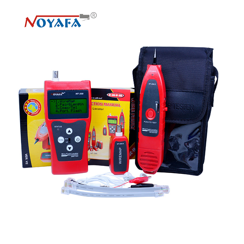 Unique Network monitoring cable tester LCD NF-308 Wire Fault Locator LAN Network Coacial BNC USB RJ45 RJ11 red color bnc female to rj45 network testing cable black