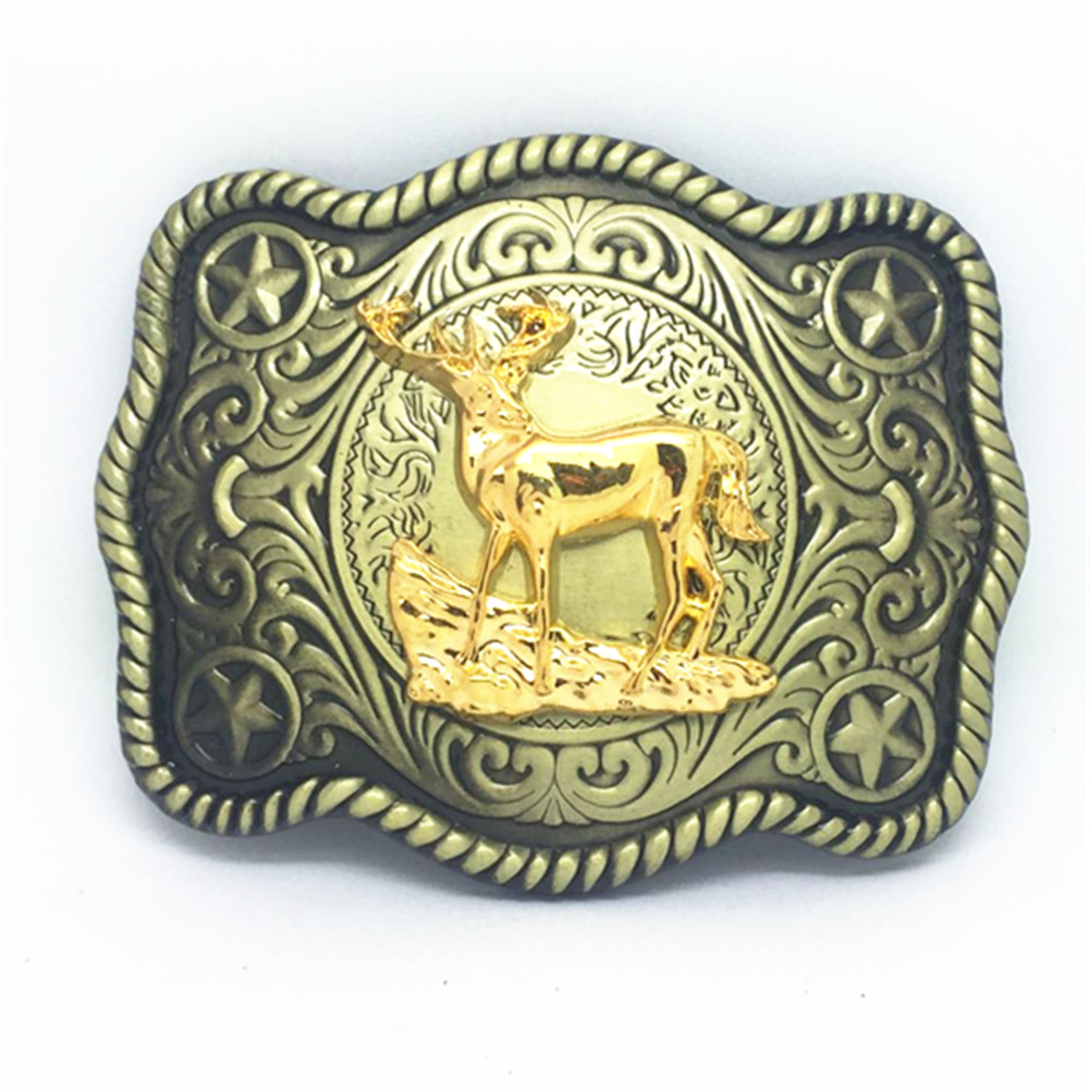 Wild Rice Cowboy Deer Pattern Wear-resisting Zinc Alloy Belt Buckle To Restore Ancient Ways