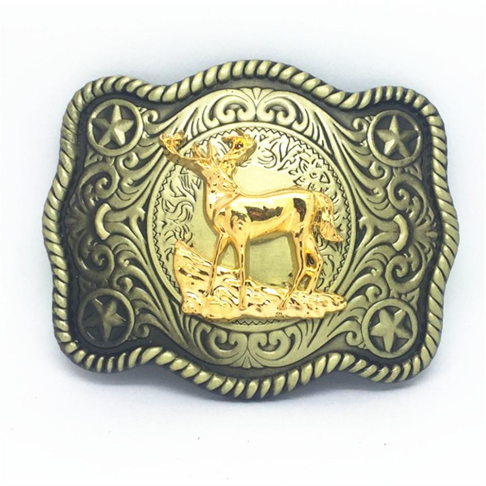 Wild Rice Cowboy Deer Pattern Wear-resisting Zinc Alloy Belt Buckle To Restore Ancient Ways