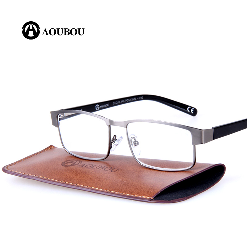AOUBOU Designer Reading Glasses Wanita PD58.5mm Square Stainless Steel Old Man Transparan Kaca Ochki Lentes De Lectura A106