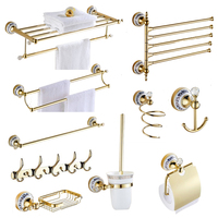 Antique wall mounted towel pole gold plated blue and white porcelain soap net crystal bathroom hardware set bathroom products