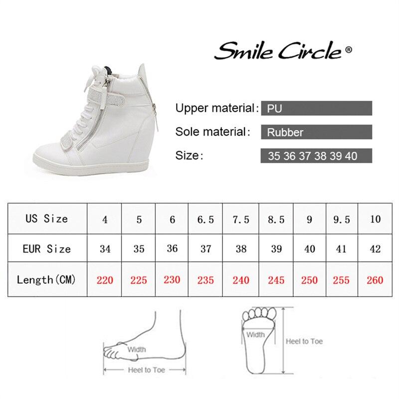 Zapatillas de plataforma de tacón alto de mujer de cuñas de círculo de sonrisa zapatillas de cuero de PU de alta calidad Casual-in Zapatos vulcanizados de mujer from zapatos    3