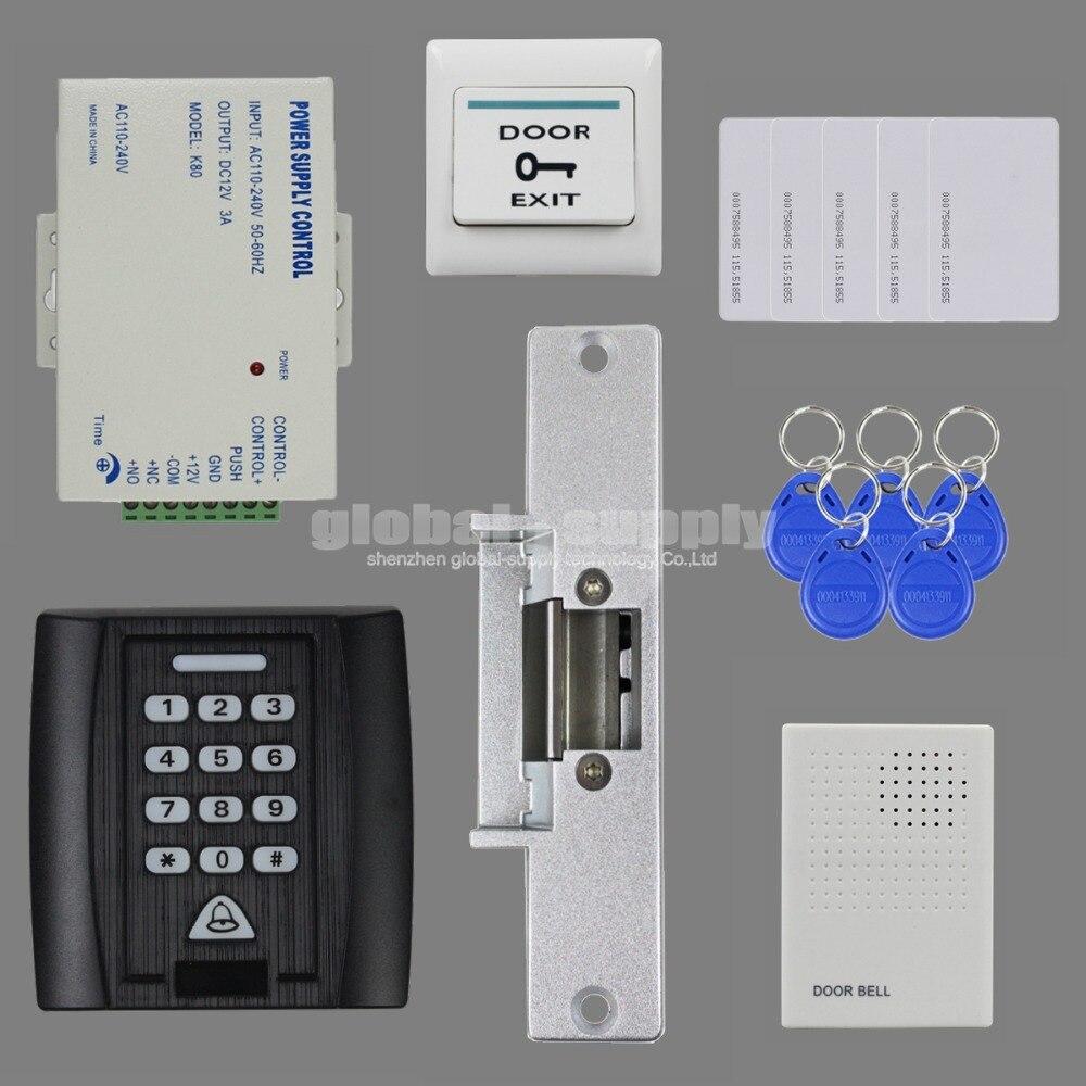 ФОТО DIYSECUR Door Bell 125KHz RFID Reader Password Keypad Access Control System Security Kit + Strike Lock + Power Supply KS158