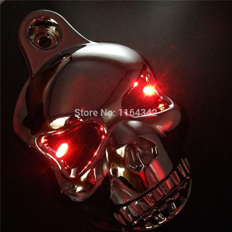 Chrome LED Crâne Corne Couvercle Carburateur Pour Harley Davidson Softail Dyna Sportster Glide Big Twin Electra