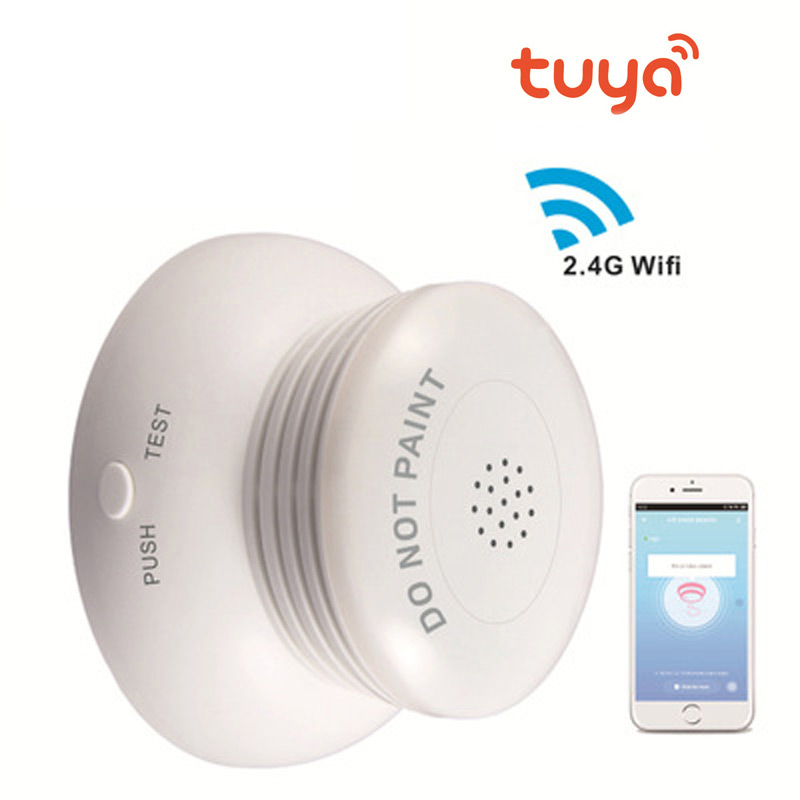 Maison intelligente 2.4G Wifi sans fil détecteur de fumée capteur intelligent Anti-incendie détection alarme soutien Tuya vie intelligente App télécommande