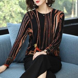 Image 3 - YISU femmes chandail 2019 mode printemps automne chaud pulls pull rayure imprimé chandails femme tricoté chandails femme