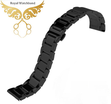 22mm Black Solid Polished Heavy Stainless steel Watch band strap Bracelets Wristband Fit Smart Watch