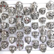 New Big Punk Biker Skull Rings For Men Unique Shapes Fit Hippop Rocker 50pcs/lot