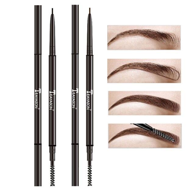 TEAYASON lápiz de cejas súper delgado de doble extremo con brocha de cejas impermeable de larga duración negro marrón ceja tatoo pluma AM061