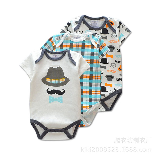3 Pieces/lot Brand Summer Baby Boys Romper Animal Style Short Sleeve Cotton Jumpsuit