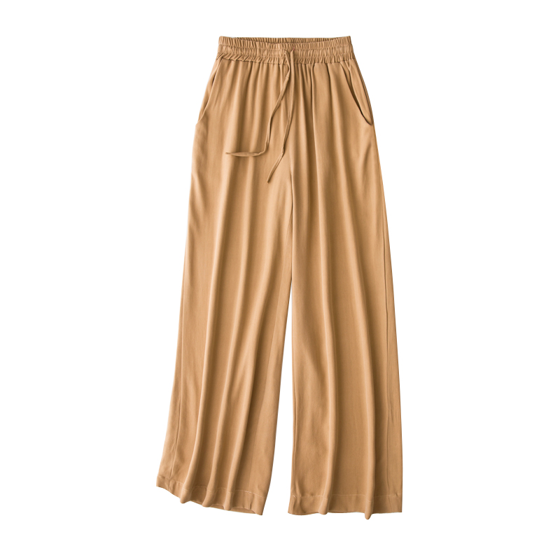 Vintage Women Summer Spring Natural Silk   Pants   Silk Loose Style Trousers Work Wear OL Fashion Holiday camel   wide     leg     Pants