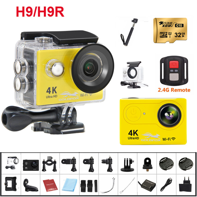 2018 New H9/H9R Action Camera 4K Ultra HD 1080p/60fps Mini Helmet Cam WiFi 2.0 170D Helmet Cam go Waterproof pro Sport Camera wimius 20m wifi action camera 4k sport helmet cam full hd 1080p 60fps go waterproof 30m pro gyro stabilization av out fpv camera