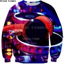 PLstar Cosmos Audio Editor Dj Headphones 3D Men women sweatshirt Brand Apparel Casual Hip Hop Pullover Hooded Sweatshirt
