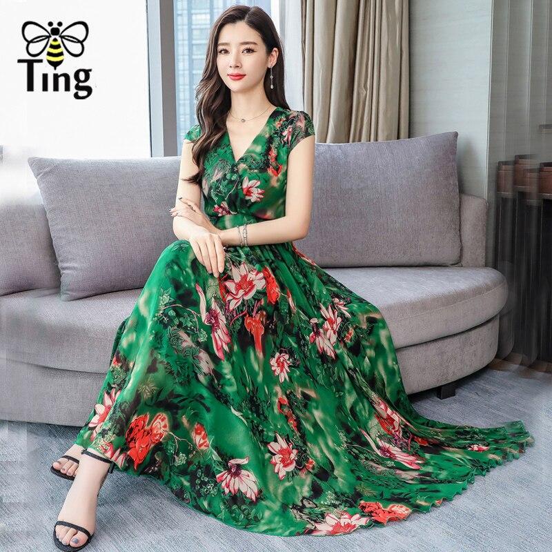 Tingfly Plus Size 3XL Summer Dress Women Elegant Boho Floral Print Maxi Dress V neck Chiffon Vestidos Bohemian Beach robe femme