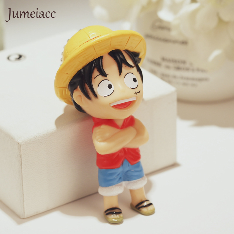 Jumeiacc Cute Cartoon ONEPIECE Arnie Doll Lovers Keychain Key Holder Metal Bell Key Chain Keyring Charm Bag Auto Pendant Gifts