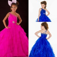 One Shoulder Crystal Cheap Girls Pageant Dresses Kids Ball Gowns Long Royal Blue Green Pink Flower Girl Dress For Weddings