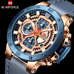 NAVIFORCE nowe luksusowe zegarki wojskowy zegarek kwarcowy dla mężczyzn skórzane zegarki wodoodporne męskie Relogio Masculino w Zegarki kwarcowe od Zegarki na