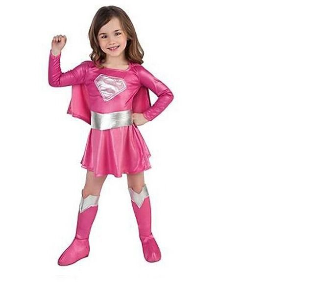 CaGiPlay children hot pink superman girl dress halloween cosplay party super hero supergirl costume with cape,boots,belt .