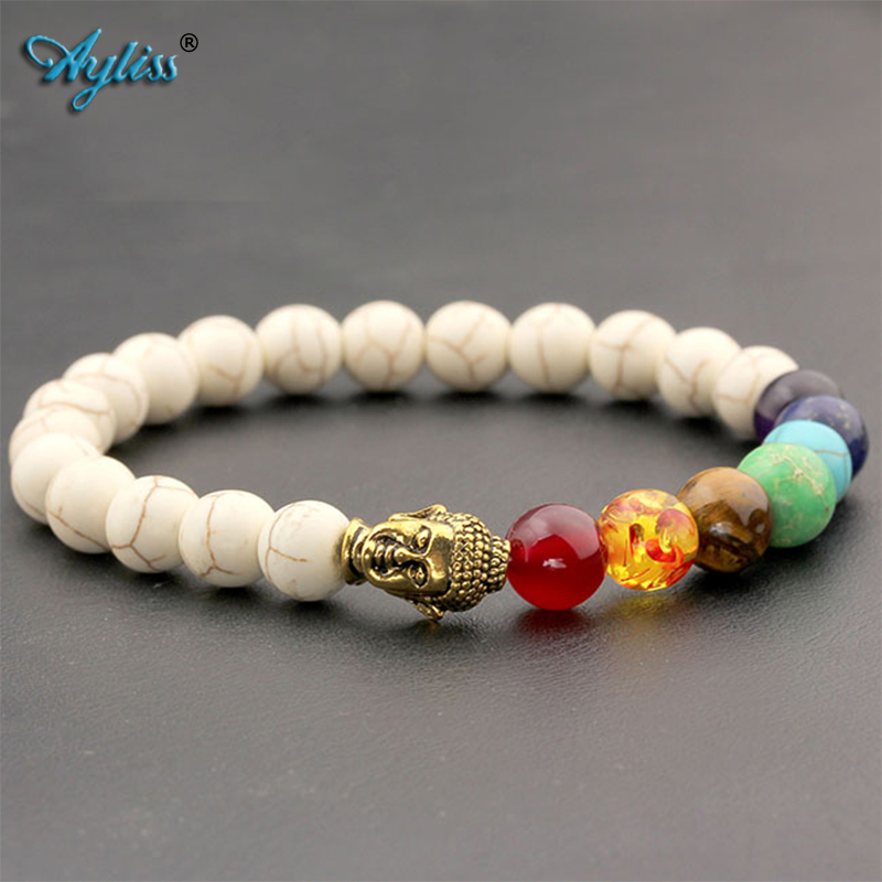 Ayliss 8mm White Stone Black Lava Beads 7 Chakra Healing Balance Buddha bouddha Bracelet Yoga Reiki Prayer Bijoux Mother's Day