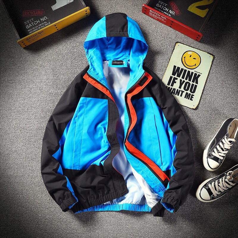 Goedhartig Patchwork Jassen Windjack Mannen Hip Hop Streetwear Heren Hooded Trenchcoat Vintage Mannen Windbreakers Blauw Rood Overjassen