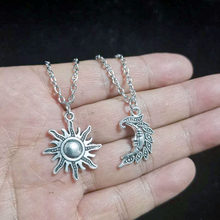Sun & Moon Pendant Necklaces , Celestial Friendship, Couple Necklaces, BF GF Charms Chain Silver Design Necklace Choker Collier(China)