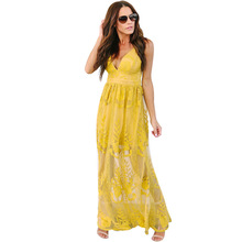 55a77391117 Elegant Women Dress Summer 2018 Backless Transparent Yellow Lace Long  Bohemian Holiday Beach Dress Sexy Spaghetti