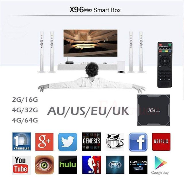 X96 Max Android 8.1 Smart TV BOX Amlogic S905X2 LPDDR4 Quad Core 4GB 64GB 2.4G&5GHz Wifi BT 1000M H.265 4K Set top box X96Max 3