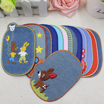 11Cm Cartoon Denim Cloth Iron On Patch Children Clothes Jeans Knee Decorative Patch Embroidery Applique Elbow Parches Fabric embroidery