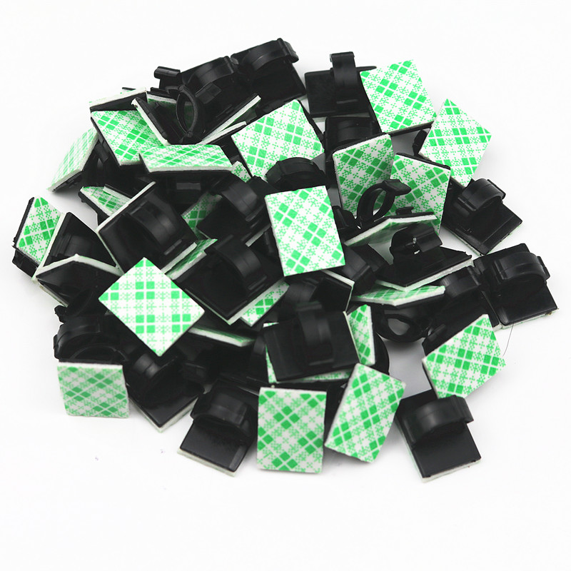 20pcs Adhesive Car Cable Clips Cable Winder Drop Wire Tie Fixer Holder Cord Organizer Management Desk Cable Tie Clamps