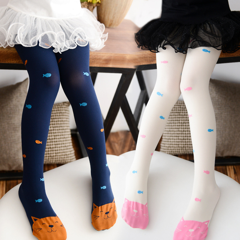 2018 Spring Candy Color Girls Pantyhose Cat Fish Print Children Tights for Girl Kids Pantyhose Ballet Dance Girls Stocking S/M/L candy color mixed girls velvet tights patchwork baby girl stretch trouser skinny pants kids dance tights pantyhose stocking 3 9y