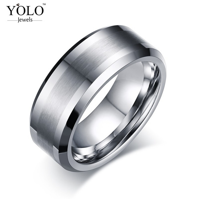 Minimalist Tungsten Caribide Wedding Rings for Men Promise Ring for Boys as a Love Gift for Boyfriend Men Accessories 2018