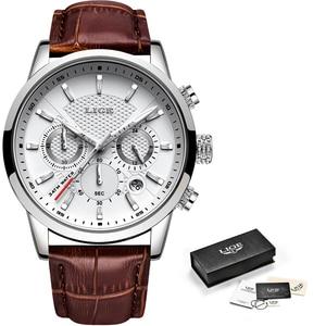 Image 5 - ליגע 2019 חדש שעון גברים אופנה ספורט קוורץ שעון Mens שעונים מותג יוקרה עור עסקים עמיד למים שעון Relogio Masculino