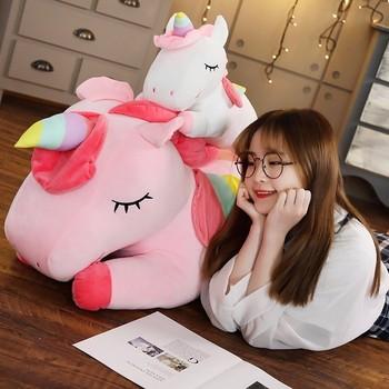 Kawaii Giant Unicorn Plush Toy Soft Stuffed Unicorn Soft Dolls 20-80cm Animal Horse Toys For Children Girl Pillow Birthday Gifts 1
