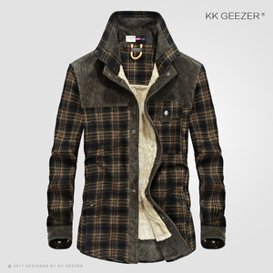 Image 2 - フランネルシャツの男性軍格子縞の冬暖かいフリース厚コート綿100% の高品質ポケットシャツ長袖ドロップシッピング