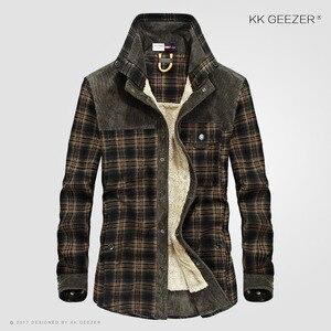 Image 2 - Flanela camisa masculina militar xadrez inverno quente velo grosso casaco 100% algodão de alta qualidade bolso camisas manga longa dropshipping